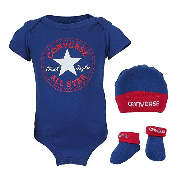 5d434ee91 Converse Baby Boys 0-24m 3 Piece Clothing Set, Blue, 0-6 Months: Amazon.co. uk: Clothing