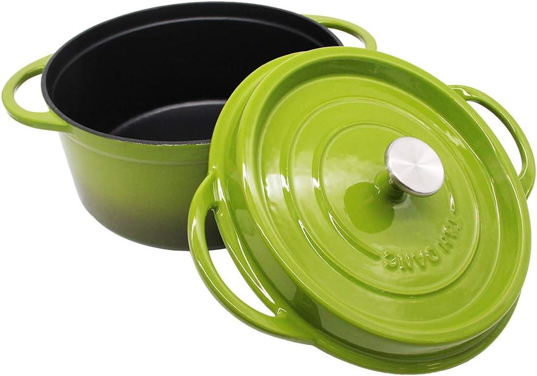 Enameled Cast Iron Dutch Oven Ceramic Cookware with Lid 7.5 Quart Casserole Green T&H Danc