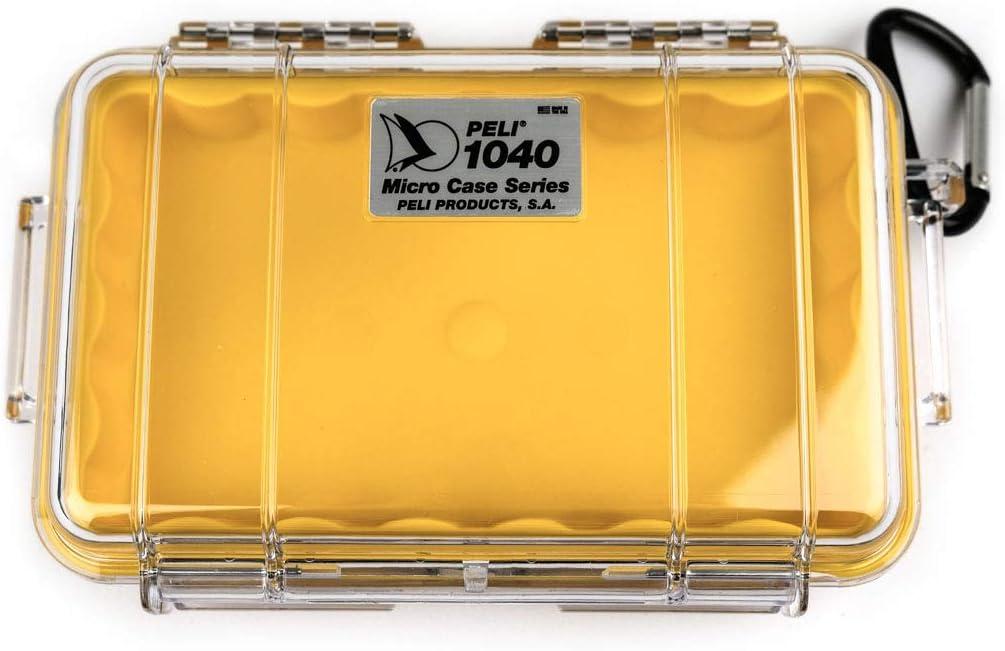 PELI 1040 Estuche técnico impermeable para protección de pequeños objetos en actividades outdoor - escalada, rafting, pesca -IP67 estanco, 0,7L capacidad, fabricado en EE.UU, color amarillo/transpar1L