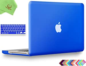 UESWILL 2in1 Smooth Soft Touch Matte Hard Shell Case with Silicone Keyboard Cover for MacBook Pro 13 inch with CD-ROM (Non-Retina) (Model A1278) + Microfibre Cleaning Cloth, Royal Blue