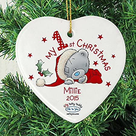 First Christmas baby plaque christmas tree shaped gift plaque in pink or blue