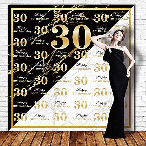 Funnytree 6x6ft Black and White 30th Birthday Photography Backdrop Marble Adult Golden Step and Repeat Background Thirty Years Old Age Party Banner Decoration Photo Banner Photobooth Props