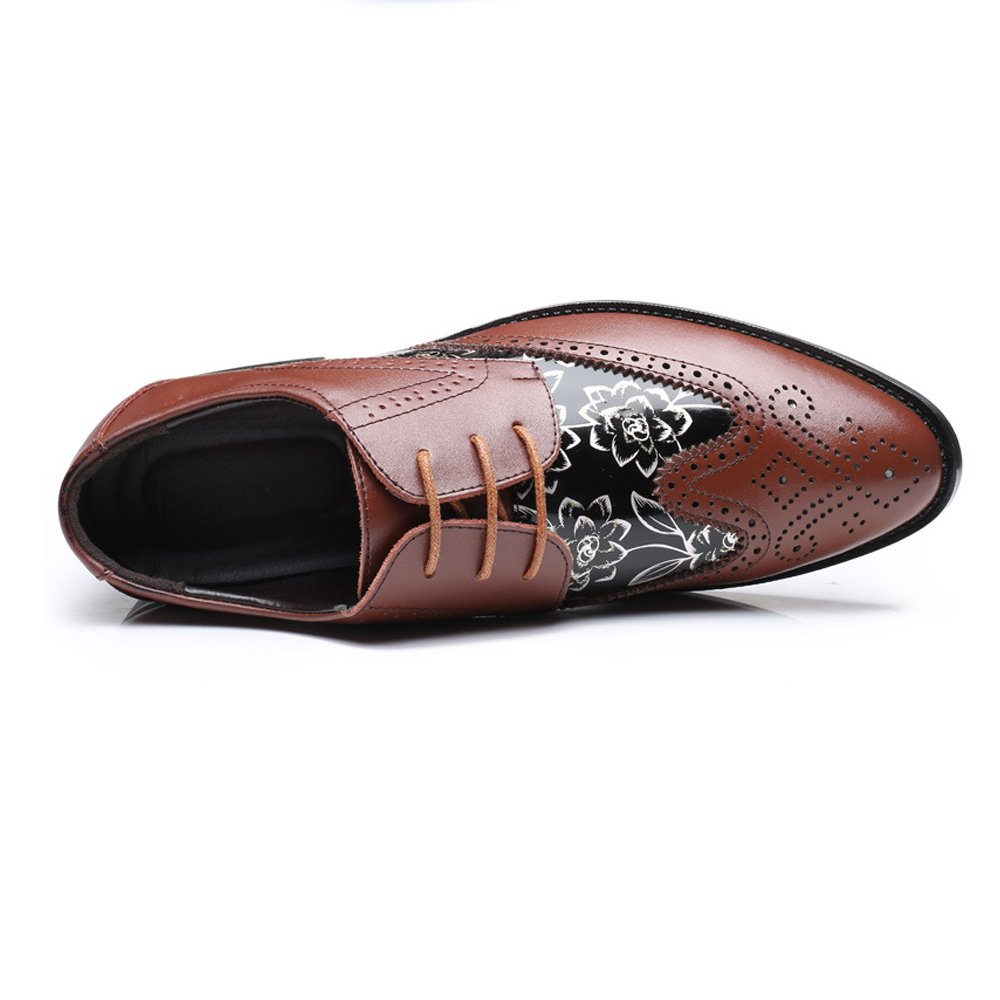 Mens Brogue Shoes Wingtip Hollow Carving Splice Smooth Flower Pattern PU Leather Lace Up Breathable Lined Oxfords