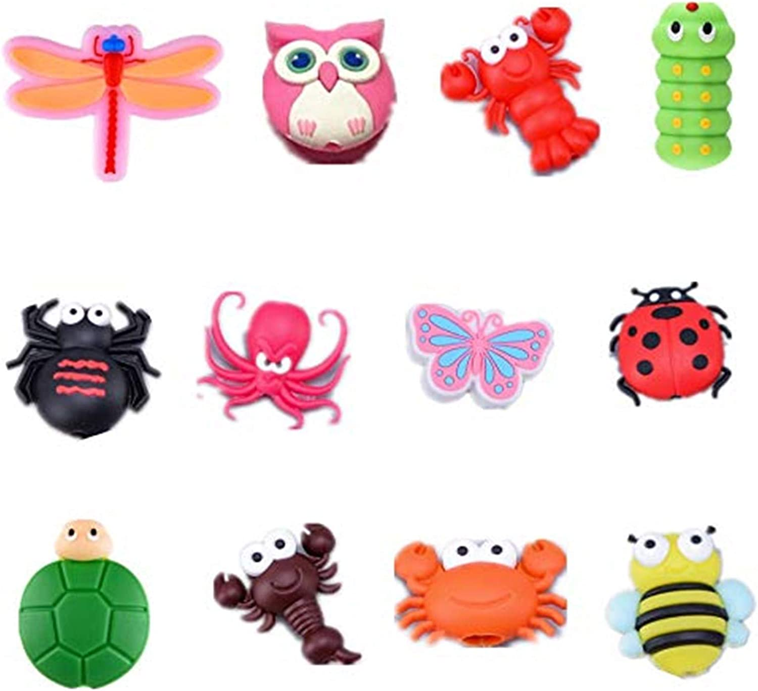 12 Pcs Charger Cable Protectors Prevent Cable Break for iPhone/iPad/Airpods/iwatch, Cute Animal Shape USB Charger Cable Saver Bites Cable Protector Cute Cartoon Anti-Broken Phone Cord Set (12 Pieces)