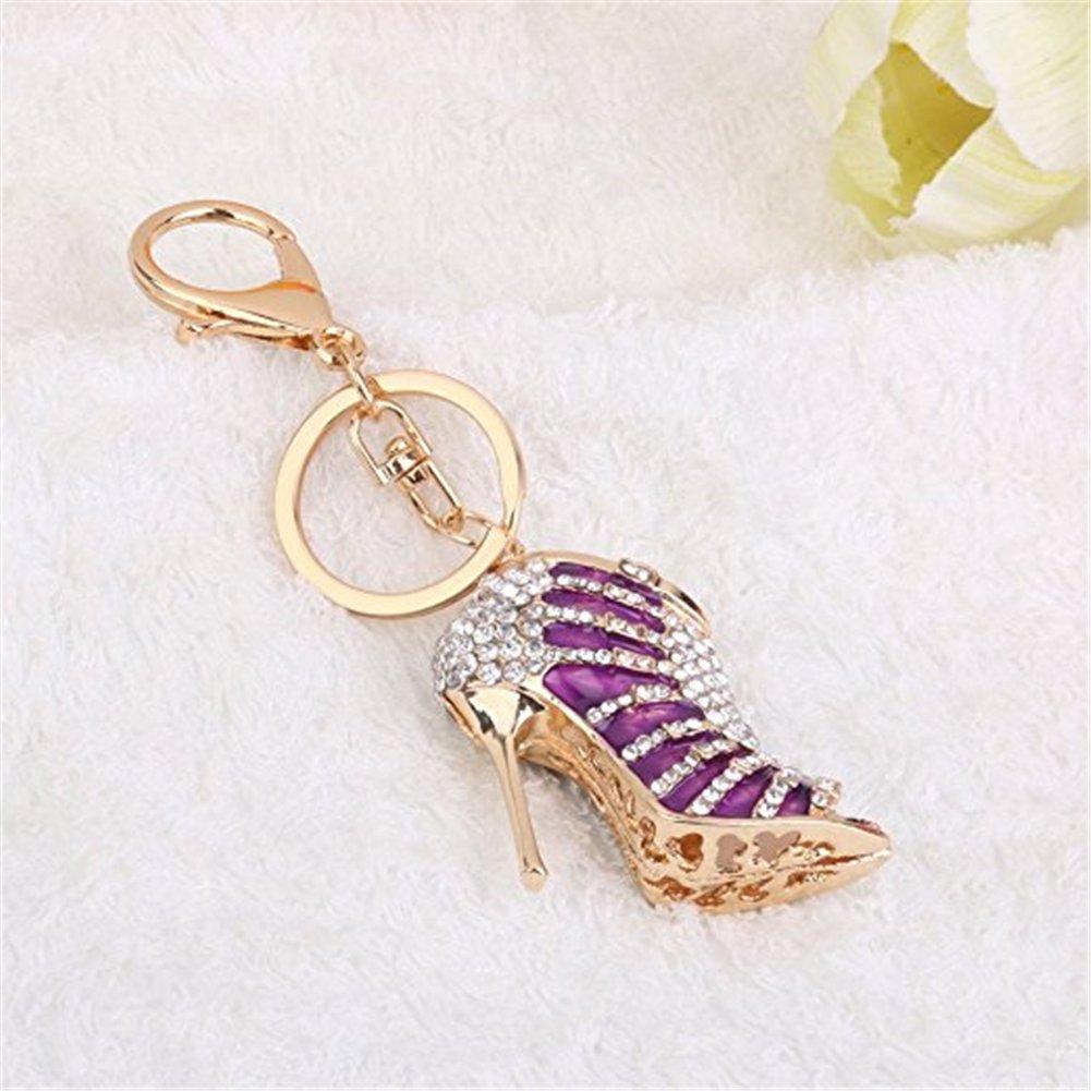 homiki Porte-cl/és Mousqueton M/étal Forme de Chaussure /à Talon Haut Cr/éatif Cadeau D/écoration Pendentif de Sac,violet