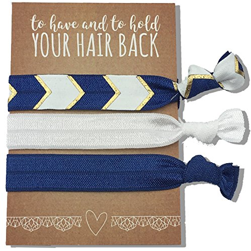 (Jeune Marie 12 Pack Blue Ribbon Hair Ties KIT No Crease Elastics Handtied Ouchless Ponytail Holders Hair Band Bracelet Favors for Bachelorette Parties, Bridal Showers, and More! (12 Pack,)