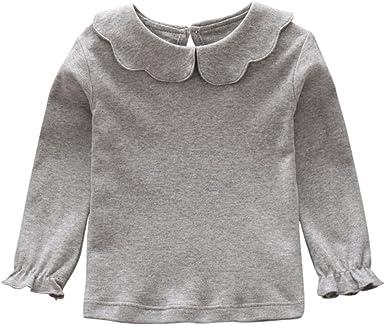 Weixinbuy Little Girls Turtle Neck Long Sleeve T-Shirt Kids Blouse Basic Shirt Bottoming Top