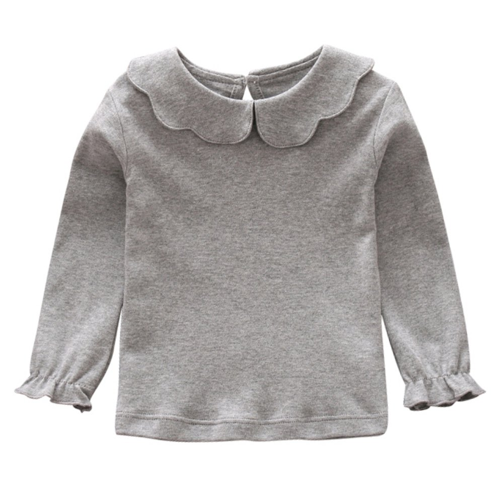 Weixinbuy Baby Girls Blouse Solid Color Long Sleeve T-Shirt Kids Basic Shirt Bottoming Top