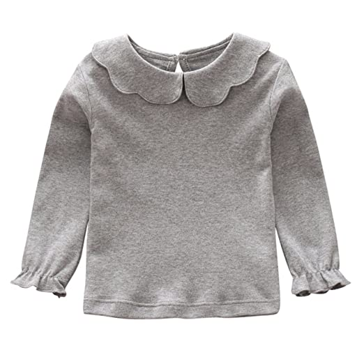 b8831f23f Image Unavailable. Image not available for. Color: Weixinbuy Baby Girl's  Blouse Solid Color Long Sleeve T-Shirt Kids Basic Shirt Bottoming Top