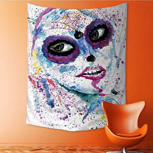 Auraisehome Tapestry Wall Hanging 3D Printing Halloween Girl with Sugar Skull Makeup Watercolor Beach Throw Blanket 54W x 72L -