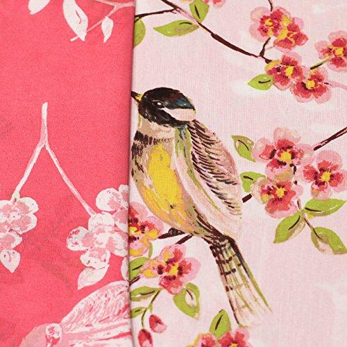 Just Contempo Bettwäsche-Set, orientalisches Design mit Vögeln und Kirschblüten in Korallenrosa, Zartrosa, Grün und Gelb, Double