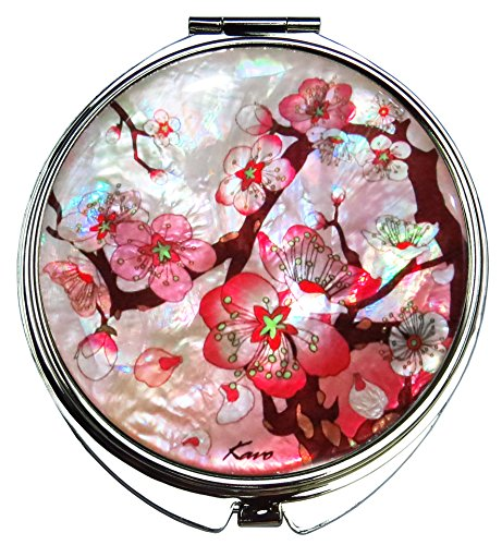 Compact Makeup Mirror Cosmetic Korean Mother of Pearl Lacquered Apricot Tree #33 ()