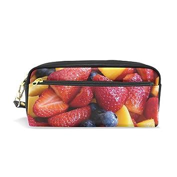 Estuche de cuero para lápices, con frutas, fresa, arándano ...