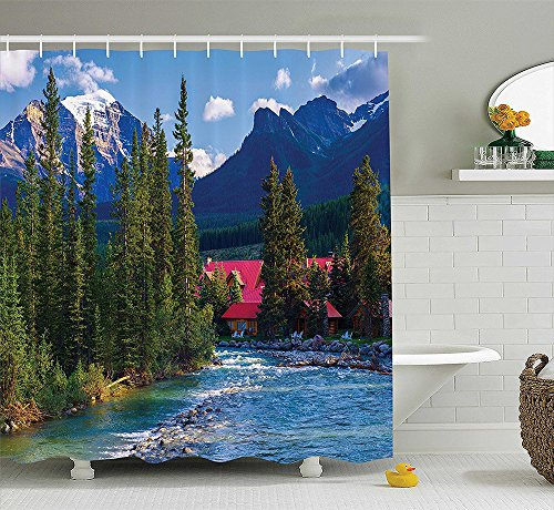 [Lake House Decor Collection Pipestone River Rushes Past Log Cabins in Lake Louise Village Banff National Park Image Polyester Fabric Bathroom Shower Curtain Set with Hooks] (National Costume Of India Images)