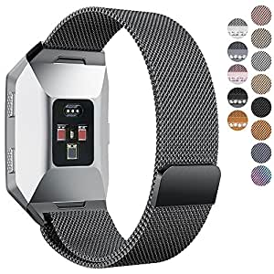 Fitbit Ionic Bands, hooroor Fully Magnetic Closure Clasp Mesh Loop Milanese Stainless Steel Ionic Band for Fitbit Ionic Smartwatch (Black Small)
