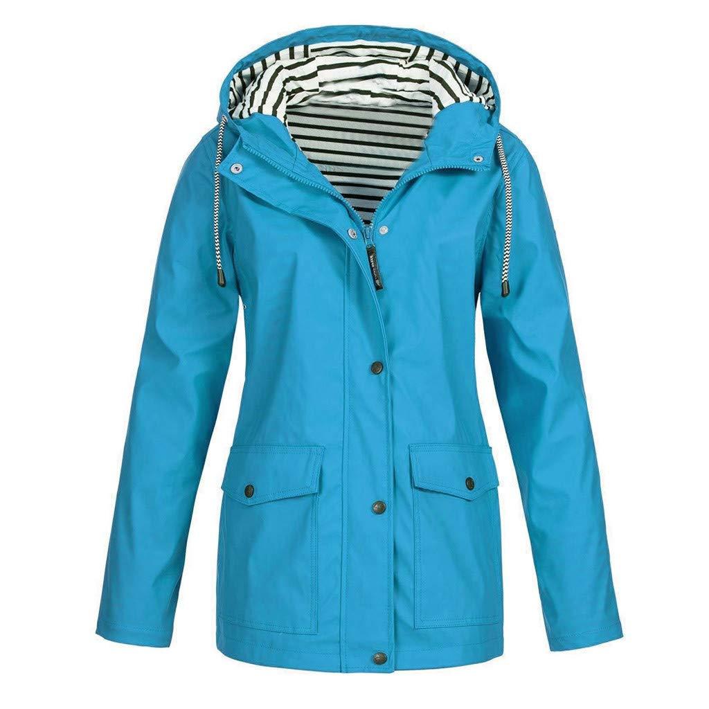 Pandaie Women Softshell Jacket Hooded Rain Jacket Waterproof Windproof Outdoor Windbreaker Raincoat Parka Long Sky Blue by Pandaie