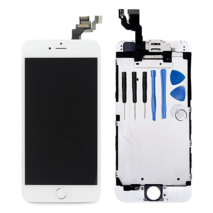 newest 5445e 9ab12 Ayake for iPhone 6 Plus Digitizer Screen Replacement White 5.5'' Full LCD  Display Assembly with Home Button, Front Facing Camera, Earpiece Speaker  Pre ...