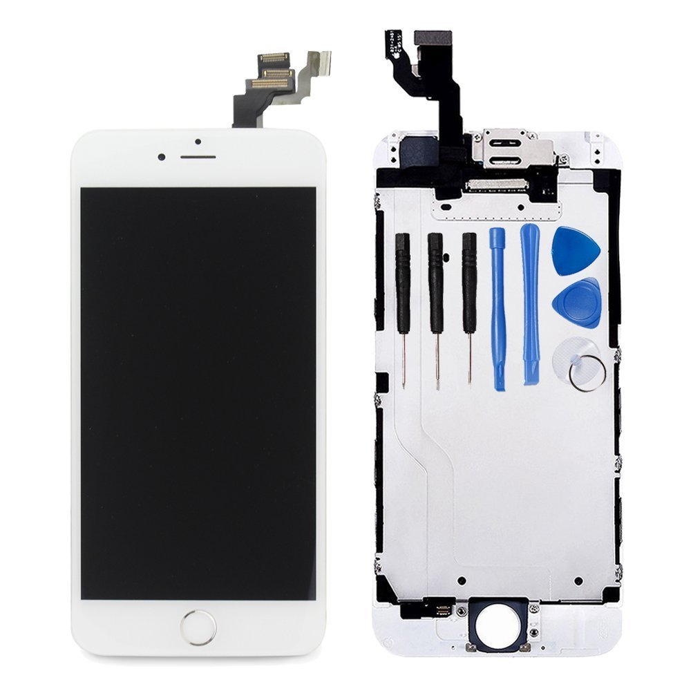 For iPhone 6 Plus Digitizer Screen Replacement White - Ayake 5.5'' Full LCD Display Assembly with Home Button, Front Facing Camera, Earpiece Speaker Pre Assembled and Repair Tool Kits