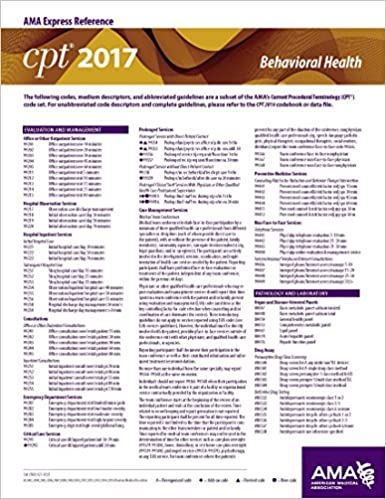 Cpt 2017 Express Reference Coding Card Behavioral Health