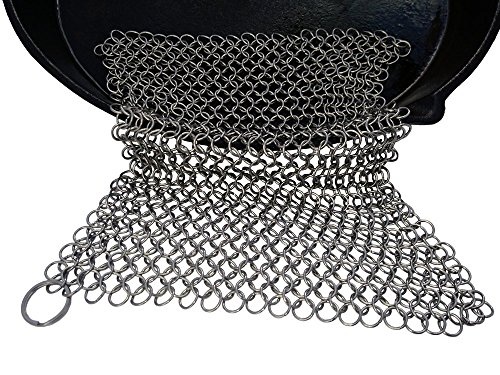 Cast Iron Cleaner and Scrubber by Küche Chef. XL 8x8 Inch Premium 316 Stainless Steel Chainmail Scrubber by Kuche Chef (Image #5)