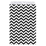"888 Display USA - 200 pcs Chevron Paper Gift Bags Shopping Sales Tote Bags (Black, 4"" x 6"")"