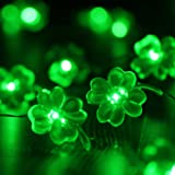 LarpGears St. Patrick's Day Decoration Clover LED String Lights with Battery Operated Remote 10 ft 40 LEDs Handmade String Li