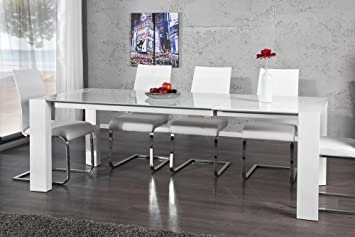 Esstisch weiß glas  Ausziehbarer Design Esstisch EXPANDA weiß high gloss Glas 160 ...
