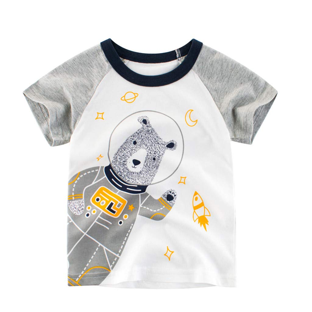 Boys' Letter Print T-Shirt,Simple Crew Neck Short Sleeve Casual Tops Spring Summer T Shirt (White, Recommend Age:12-18Months)