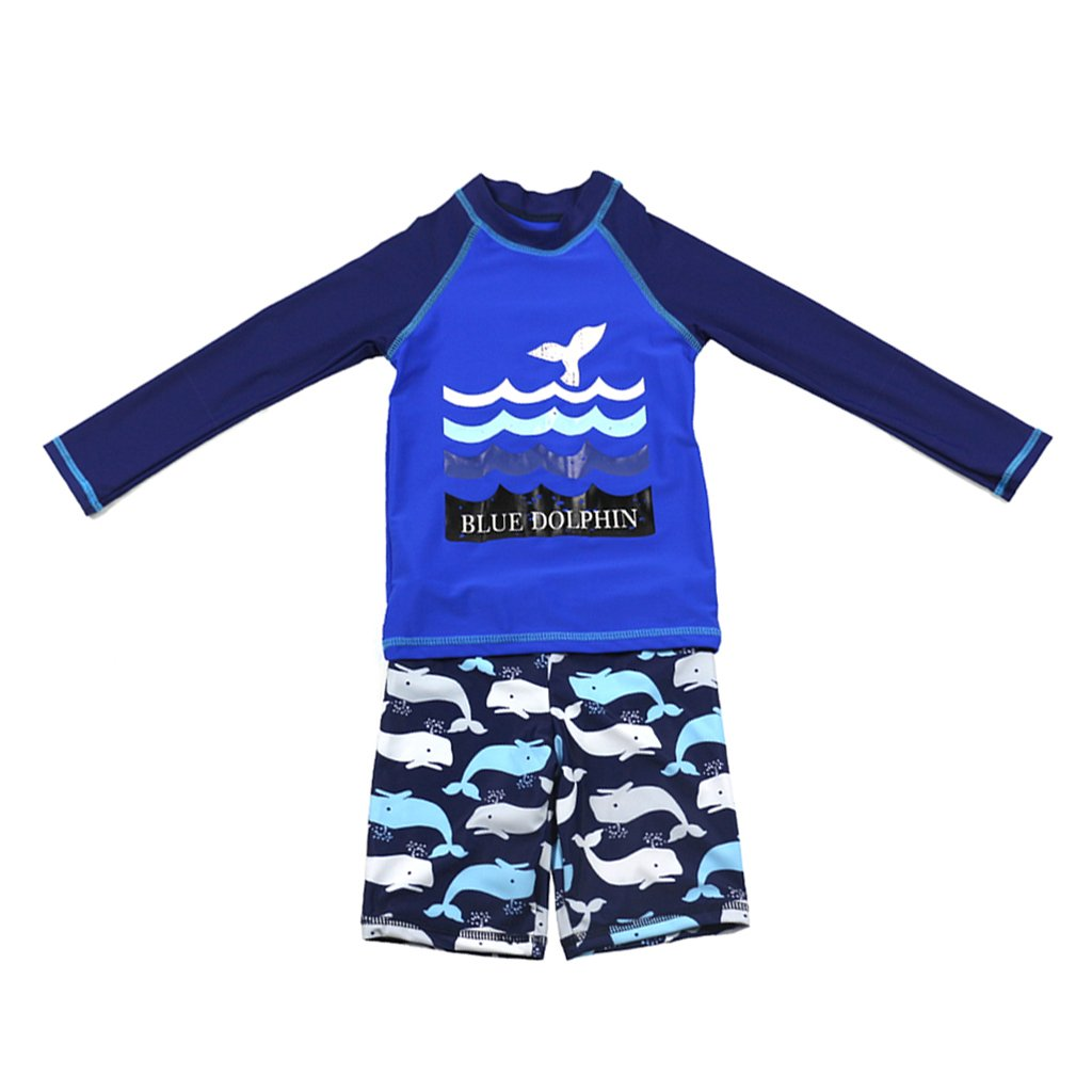 Gogokids Boys Long Sleeved Swimsuit - Kids 2 Pieces Swimwear Swim T-Shirt and Trunks SDW Trading Co. TLD