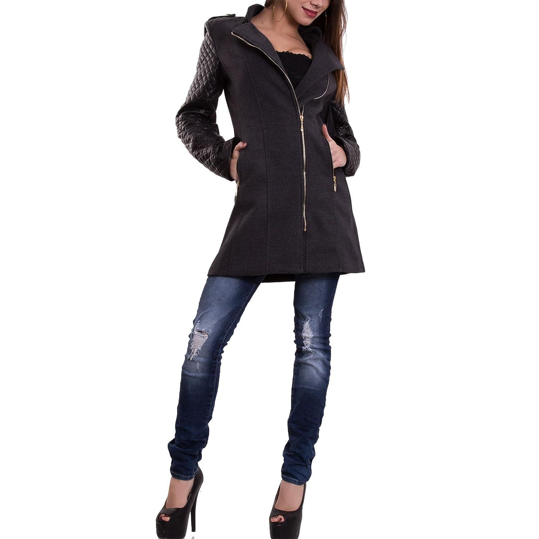 cappotto donna giubbotto maniche lunghe ecopelle zip