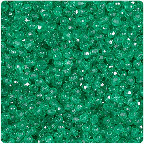 BEADTIN Emerald Green Transparent 4mm Faceted Round Craft Beads (1250pc) - Faceted Emerald Green