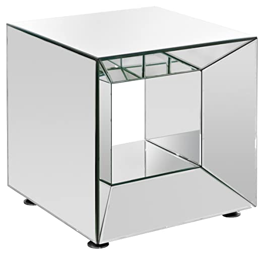 Febland Cube Mesa, Vidrio, Efecto Espejo: Amazon.es: Hogar