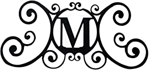 24 Inch House Plaque Letter - Wrought Iron Metal Scrolled Monogram Initial Letter Home Door Wall Hanging Art Decor Family Name Last Name Letter Sign (M, 24 x 11 inches,Thick 2mm) Christmas Gift