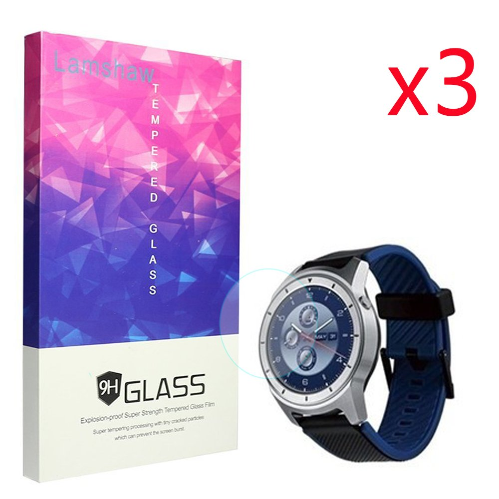 ZTE Quartz Smartwatch Screen Protector, Lamshaw 9H Tempered Glass Screen Protector for ZTE Quartz Smartwatch (3 pack)