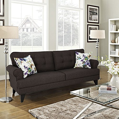 HomeTown Miller Fabric Three Seater Sofa in Brown Colour