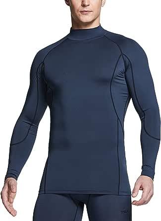 TSLA Men's (Pack of 1, 2) Mock Neck Long-Sleeved T-Shirt Cool Dry Compression Baselayer