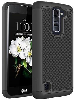 LG K7 Case, LG Tribute 5 Case, NOKEA [Shock Absorption] Full Body Hybrid Dual Layer Armor Defender Protective Case Cover for LG Tribute 5 / LG K7 (Black)