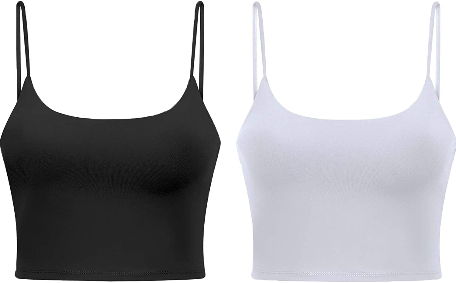 Women's Longline Sports Bra Camisole Crop Top with Cups and Built in Bar for Yoga