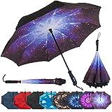 Kyпить Repel Reverse Folding Inverted Umbrella with 2 Layered Teflon Canopy and Reinforced Fiberglass Ribs (Starry Night) на Amazon.com