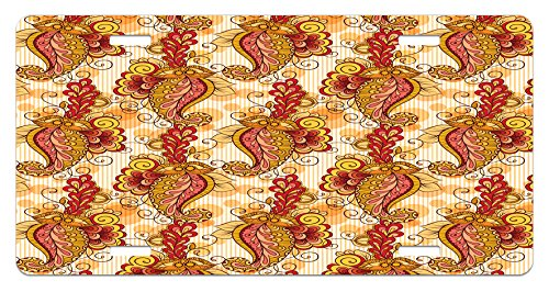 Asian License Plate by Ambesonne, Traditional Asian Paisley in Colors Floral Ornamental Religious Cultural Art, High Gloss Aluminum Novelty Plate, 5.88 L X 11.88 W Inches, Orange Yellow Red