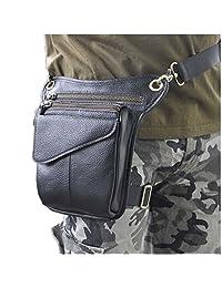 Le'aokuu Mens Genuine Leather Cycling Waist Hip Bum Pack Utility Drop Leg Cross Over Bag (The Black 2)