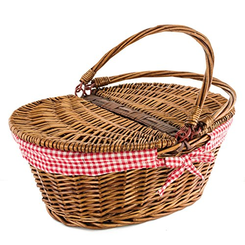 Kovot Country Style Wicker Picnic Basket with Folding Handles Liners Measures 16.5 x 13.5 x 7.5 for Picnics, Parties and BBQs