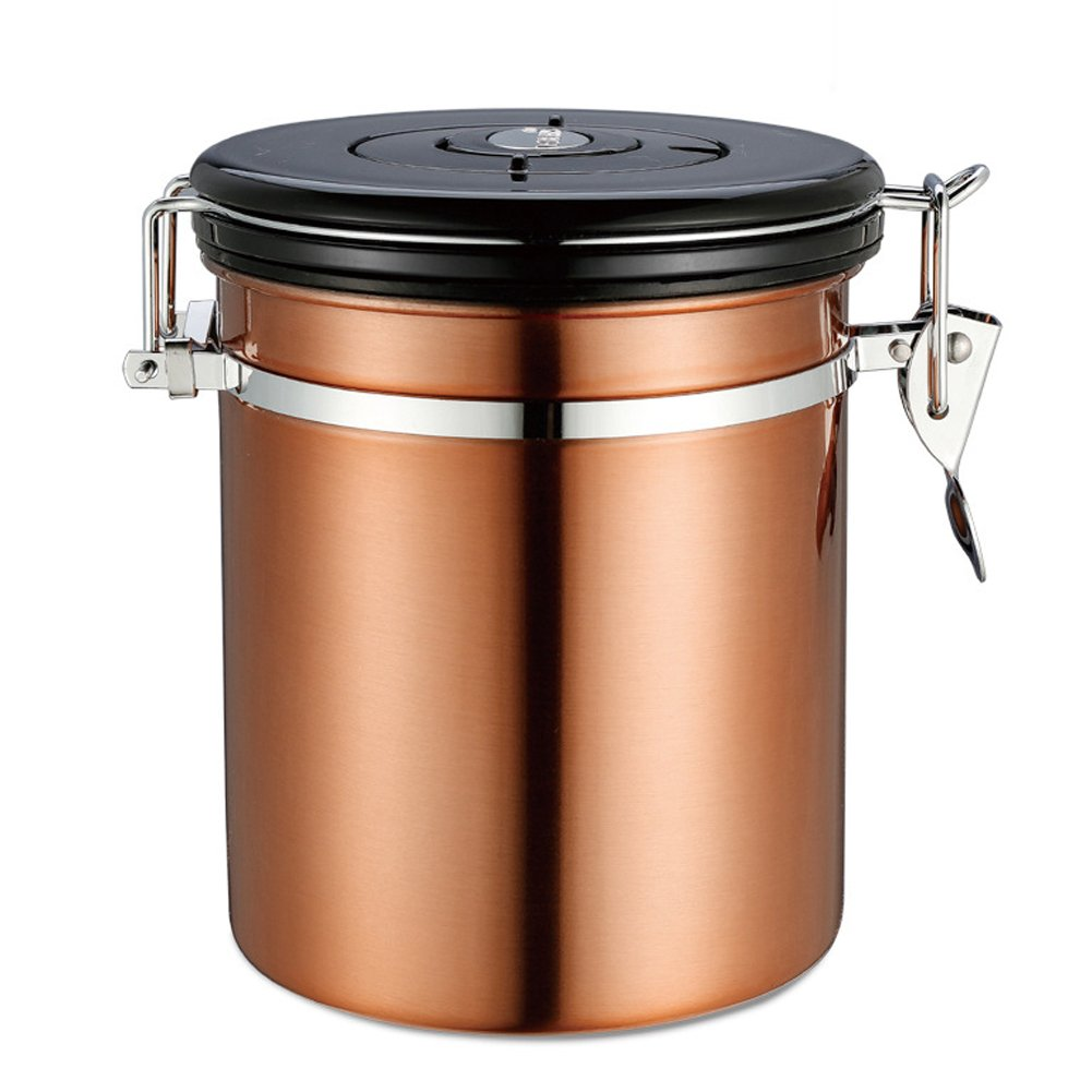 Ancdream 1 Lb Stainless Steel Coffee / Tea Storage Container Airtight Canister with Co2 Valve Gold