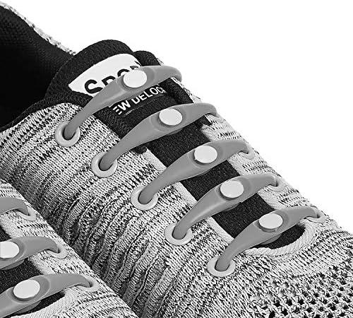 グレー 結ばない靴紐 伸縮するワンタッチ靴ひも/靴の頻繁な着脱、ウォーキング、お子様、高齢者、手先の不自由な方
