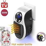 Nifogo Mini Calentador Portátil Heater, Estufa Eléctrica 500W con Termostato Ajustable Tiempo Programable de 12