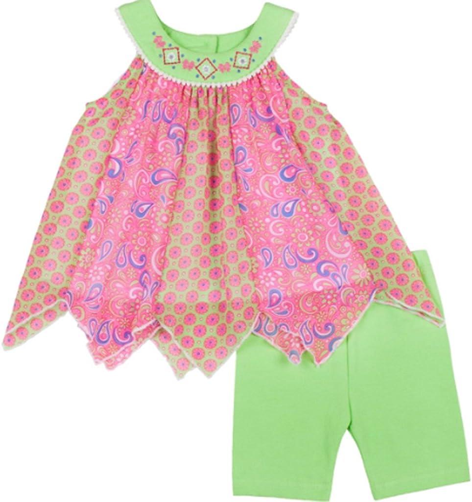 Bright Lime Little Lass Baby Girls Handkerchief Hem Tank Top /& Bike Shorts Set
