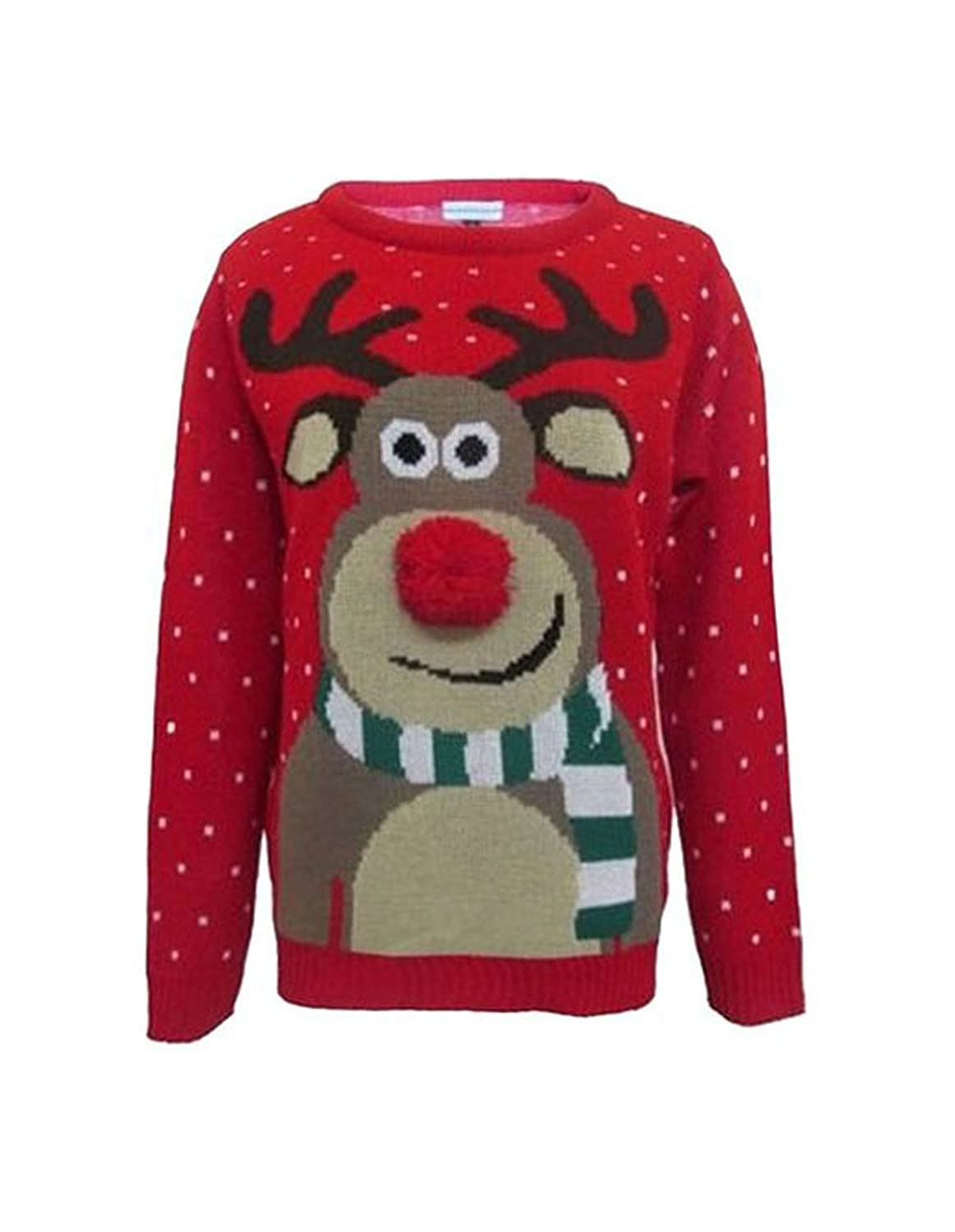 Girlzwalk Unisex Girls Boys Rudolph Knitted Pom Pom Xmas Jumper