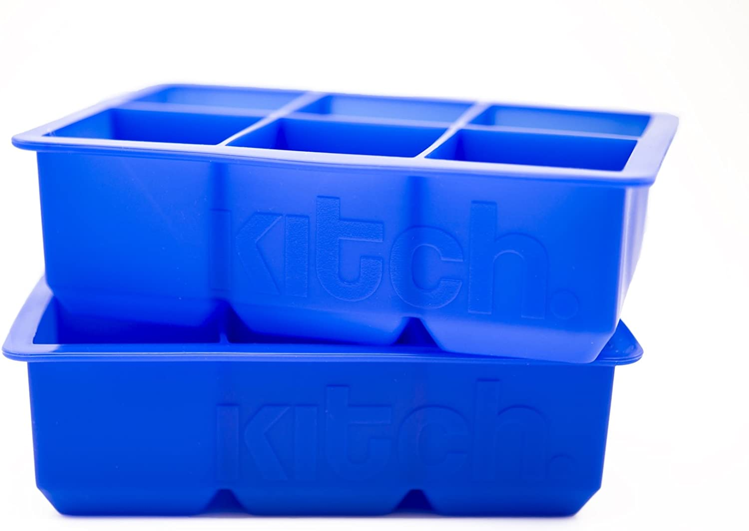 Large Cube Silicone Ice Tray, 2 Pack by Kitch, Giant 2 Inch Ice Cubes Keep Your Drink Cooled for Hours - Cobalt Blue: Kitchen & Dining