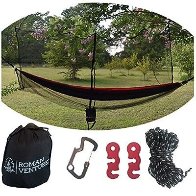 Hammock Bug Net - 11.5' Hammock Mosquito Net Fits All Camping Hammocks. Includes Loop For Reading Light, Carabiner Bottle Opener, Tensioner System And 30 Foot Guy Line. Lightweight. Easy Setup.