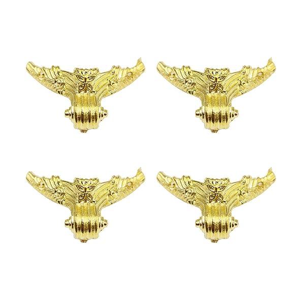 4 Antique Brass Decorative Feet Jewelry Box Feet Case Leg 30x27mm with Screws